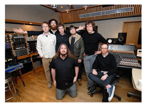Pictured in Studio D at Ocean Way (L-R, Standing) are Will Canzoneri, keyboards; Rob Barbato, vocals, bass; Tim Presley, vocals, guitar; Jared Everett, guitar; Dave Cooley, producer. Foreground (L-R) Wesley Seidman, assistant engineer; Tony Hoffer, engineer/mixer. Photo by David Goggin.
